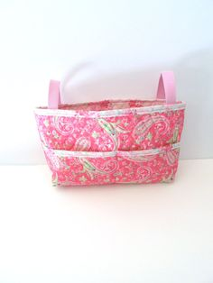 Quilted Pink and Green Paisley Walker Bag - Walker Tote - Scooter Bag - Stroller Bag on Etsy, $28.00