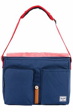 The Columbia Messenger Bag in Navy & Red