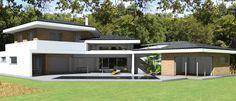 Maison contemporaine d'architecte à toiture tuiles noires et casquettes béton à Toulouse