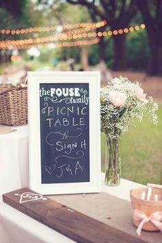 picnic table guest book http://www.weddingchicks.com/2013/09/27/pink-and-cream-wedding/