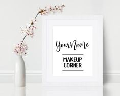 [CUSTOM NAME]s Makeup Corner Print: This print is ready to go to adorn ANY makeup corner, vanity, studio, work space, etc. It listed as an 8x10Inch print but that can be customized as well to ANY size that will fit your needs. Great as a decoration to bring a special touch into your home or makeup Makeup Display, Makeup Storage, Corner Vanity, Vanity Decor, Donate To Charity, Gift Guide, Messages, Handmade Gifts, Prints