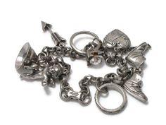 Coro Charm Bracelet, Love Marriage, Wedding Ring, Vintage Jewelry, Cherub Charm, Puffy Heart, 1950s 50s Jewelry, Valentines Day, Bracelet