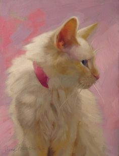 """Pretty on Pink"" an original cat painting, 8"" x 6,"" (sold) by Diane Hoeptner"