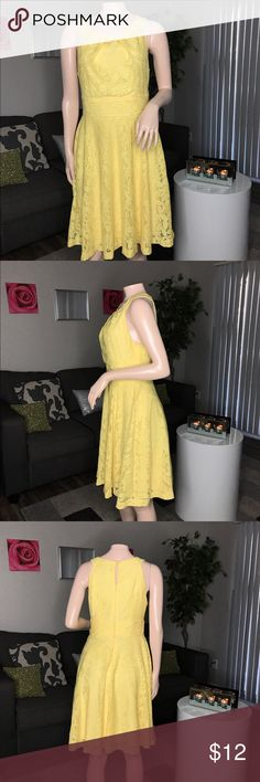 Yellow floral lace print dressAccepting Offers No imperfections ! Super cute and flirty ✨ Same day shipping  Bundle Up  Make me OFFERS ❗️*no low ballers* - SIZE: 6 ! • Built in slip. (This is not see through)I'm WELCOME to OFFERS on anything in my closet (no low ballers and please be reasonable) #Posh takes $2.95 per sale or 20%..... please keep that in mind connected Dresses