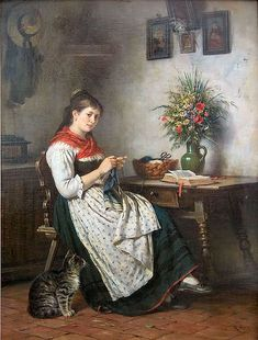 Rudolf Epp Knitting girl(Strickendes Mädchen), before 1910