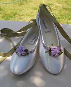 Fairy Tale Wedding Flats Lavender flower trim green lavender