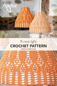 Simply make some unique lampshades. The lace pattern creates delightful light effects. Crochet Lampshade, Fabric Lampshade, Lampshades, Knitting Patterns Free, Crochet Patterns, Free Pattern, Baby Knitting, Hello Kitty Lamp, Anchor Home Decor