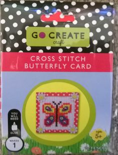 Cross Stitch Butterfly Card Kit ( by Go Create Crafts for Tesco). Great cross stitch kit for children aged 5 and over - this kit is not intended for very young children. Kit has all you need to make one card - except glue. Go Create, Create And Craft, Sewing Art, Sewing Crafts, Traditional Toys, Butterfly Cross Stitch, Cross Stitch Boards, Craft Bags, Butterfly Cards