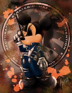 Disney vs Marvel: Mick Fury by steevinlove on deviantART (Nick Fury and Mickey Mouse mash-up) Minnie Y Mickey Mouse, Mickey Mouse And Friends, Disney Mickey, Disney Pixar, Scrapbook Disney, Comic Book Characters, Disney Characters, Dark Disney, Disney Crossovers