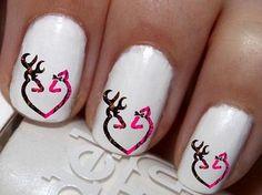 20 pc Pink Camo Double Deer Doe And Buck Love Deer Heart Nail Art Nail Decals #cg7na90