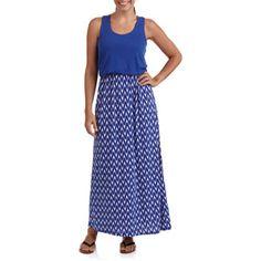 Women's Jersey Chevron Printed Scoop Neck Maxi Dress