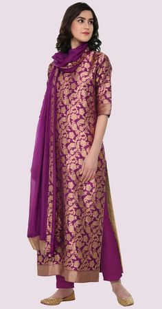 Buy Purple Color Plazo Suit by Akanksha Singh at Fresh Look Fashion Silk Kurti Designs, Kurta Designs Women, Kurti Designs Party Wear, Indian Designer Outfits, Designer Dresses, Designer Kurtis, Saris, Indian Dresses, Indian Outfits