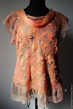 Блузки ручной работы. Ярмарка Мастеров - ручная работа Авторская блузка Оранжевое лето. Handmade.