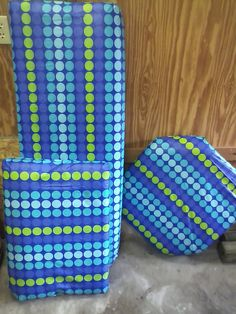 DIY Boat Cushions for cheap! I used vinyl tablecloths from walmart $3.97 each. You can do 2 or more cushions w/ each one (depending on size) I realize they won't last forever , but I did all of our pontoon cushions for under $20!