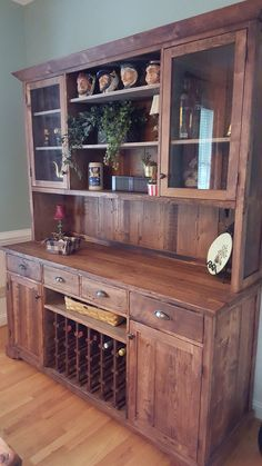 Custom Reclaimed Wood Hutch With Wine Cabinet Built By Concepts Created In Staunton VA