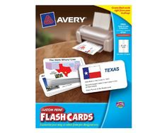 Buy it Now Avery Custom Print Flash Cards, 3 x 5 Inches, for Inkjet and Laser Printers, 100 Pack (04750)