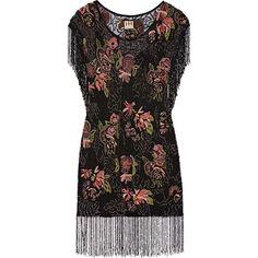 Haute Hippie Beaded mesh mini dress ($690) ❤ liked on Polyvore featuring dresses, black, mini dress, loose black dress, black mini dress, fringe dress, mesh dress and short dresses