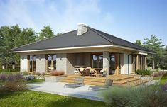 Fabia X - Dobre Domy Flak & Abramowicz Bungalow House Plans, New House Plans, Modern House Plans, House Layout Plans, House Layouts, House Architecture Styles, Metal Homes, Facade House, Beautiful Homes