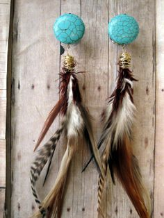 "OOAK - One of a Kind - Pair of Turquoise Bead Plugs with Feathers - Handmade Girly Gauges by WhimsyByKrista on Etsy 5/8"", 3/4"", 7/8"", 1"""