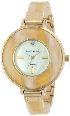 67d0ae62e39 Relógio Anne Klein Women s AK 1424CMHN Diamond Dial Gold-Tone Horn Resin  Bangle Watch  Anne Klein Relógio