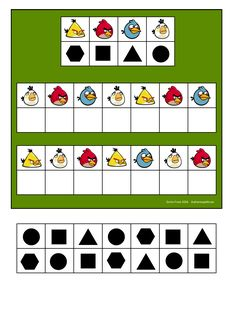 Board and tiles for the Angry Birds visual perception game. By Autismespektrum Board and tiles for the Angry Birds visual. Educational Games For Kids, Preschool Learning Activities, Teaching Kids, Activities For Kids, Coding For Kids, Math For Kids, Kids Education, Special Education, Teaching Shapes