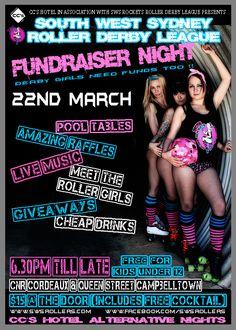 SWS Rockets Roller Derby fundraiser event poster #raffle #rollerderby