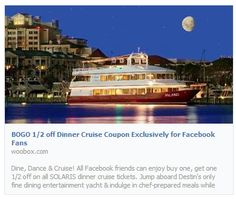 Enjoy BOGO 1/2 off on our dinner cruises for the rest of the year. http://woobox.com/o2fufz