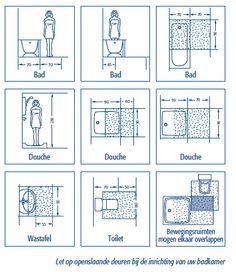 Bewegingsruimte in badkamer Bathroom Plans, Bathroom Layout, Bathroom Interior, Interior Design Living Room, Small Bathroom, Bathrooms, Tiny Office, Shower Tips, Home Organisation