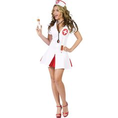 Nurse Costumes ($40) ❤ liked on Polyvore featuring costumes, halloween costumes, multicolor, ladies costumes, ladies halloween costumes, sexy women costumes, white halloween costumes and womens snow white costume