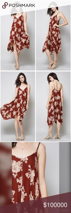 Stunning floral trapeze dress! In Burgundy/ivory! Beautiful floral lace print creates a beautiful contrast in this simple yet elegant trapeze dress ***MONDAY*** Dresses Midi