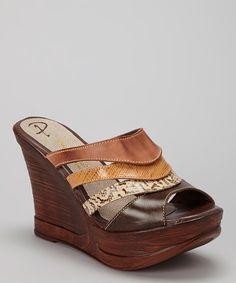 Love this Passarela Brazil Terra Snakeskin Leather Wedge Sandal by Passarela Brazil on #zulily! #zulilyfinds