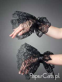 Black Lace Gloves Victorian Gothic Goth Armwarmers by PaperCatsPL, $15.00