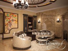 Романтическое настроение и тепло чувствуются в этой гостиной комнате. Роскошный потолок, авторская люстра, большой диван напротив камина, шоколадного цвета диванные подушечки, скульптурный барельеф на одной из стен - элитная классика от лучших дизайнеров.