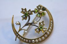 Fabulous Antique Victorian 14kt fillagree Crescent Pearl and Peridot Pin Brooch  | eBay