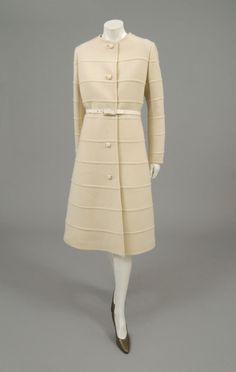 Woman's coat and belt | Designer: Hubert de Givenchy | France, 1973 | Coat: white double-faced wool twill. Belt: leather | Philadelphia Museum of Art