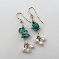 Turquoise Nugget and Pearl Cluster Sterling Silver Dangle Earrings Southwest Style by BohoJewelryBoutique on Etsy