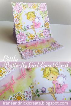 Little Butterfly Girl Easel Card Hi everyone, Hi everyone, we're sharing our Design Team Card for the Creations in Pink Challenge. Easel Cards, Pink Design, Craft Kits, Irene, Studios, Coin Purse, Challenges, Butterfly, Magazine
