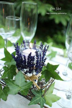 ラベンダーのキャンドルアレンジ lavende candle flower