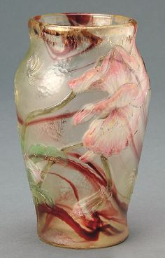Pink floral internally decorated vase by Burgun & Schverer Glass Ceramic, Mosaic Glass, Stained Glass, Art Nouveau, Belle Epoque, Art Of Glass, Cut Glass, Modernisme, Objet D'art
