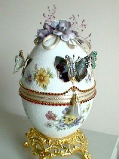 White butterfly faberge inspired.