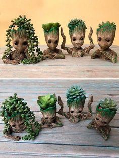 Cute Baby Groot Planting Pots - Obviously, this unique and very cute planter is ideal for displaying houseplants, but the Groot Man - Baby Groot, Plantas Bonsai, Decoration Plante, Cute Cups, Cute Little Things, Plantation, Succulents Garden, Bottle Crafts, Plant Decor