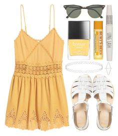 """""""Untitled #86"""" by tamara-xox ❤ liked on Polyvore featuring H&M, Butter London, Ray-Ban, ASOS, Topshop, Summer, yellow, HM and summeroutfit"""