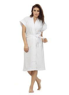 Be You Terry Cotton White Plain Bath Robe for Women