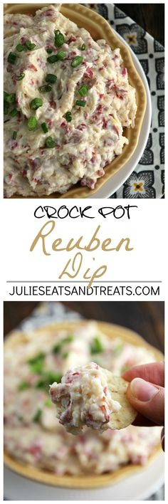 rock Pot Reuben Dip ~ Easy & Delicious Slow Cooked Dip Loaded with Swiss Cheese, Corned Beef and Sauerkraut! on MyRecipeMagic.com