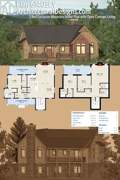 Architectural Designs 3-Bed Mountain House Plan 61403EV comes with a finished lower level making it great for your rear-sloping lot. The home gives you over 2,400 square feet of heated living. Ready when you are. Where do YOU want to build?
