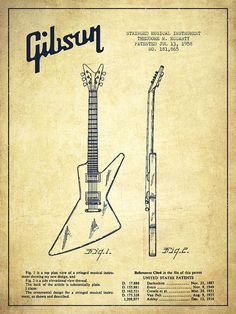 Gibson Poster featuring the drawing Mccarty Gibson Electrical Guitar Patent…