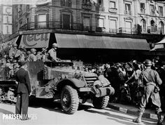 World War II. Liberation of Paris. Half-track from the Armored Division commanded by General Leclerc, acclaimed by the Parisians, place of the Hôtel-de-Ville. Paris (IVth arrondissement), on August Liberation Of Paris, Free French, Parisians, City Museum, August 22, World War Ii, Division, Wwii, Monster Trucks