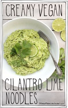 Creamy Vegan Cilantro Lime Noodles! Just 15 minutes to make! So quick and easy, and made with ingredients you probably already have on hand. Gluten free and oil free.