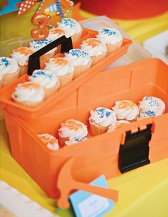 Clever & Bright Construction Birthday Bash: Toolbox cupcake stand