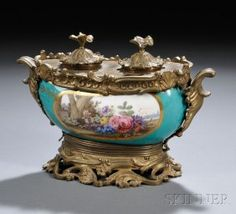 Sevres-Style Bronze-Mounted Hand Painted Porcelain Inkstand - France  19th Century